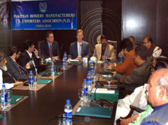 Ambassador of Denmark, H.E. Rolf Holmboe addressing the members of Pakistan Hosiery Manufacturers and Exporters Association (PHMA) during his visit to PMHA House. (Photo credit: APP)