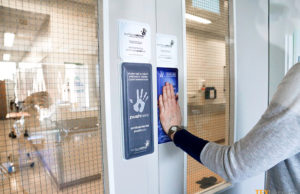 Textile keeps hospital door handles germ free