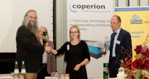The Vice-Chairman of the nova-Institute, Michael Carus, awards the prize to Marie-Isabel Popzyk (ITA); from left to right: Michael Carus (nova-Institute), Dr Asta Partanen (nova-Institute), Marie-Isabel Popzyk (ITA), Dr Roland Klein (Fraunhofer Institute LBF), source: nova-Institute, PvP