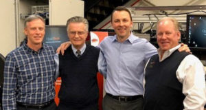 Pictured left to right: John Woolley, Business Leader, PC Industeries; Harman Gnuechtel, Business Leader, Web Printing Controls; Brent Becker, president & CEO, Baldwin; and Karl Fritchen, President, QuadTech